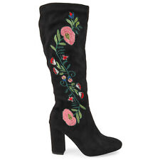 Women's Suede Knee High Zip Riding Long Boots with Floral Embroidery NEW! UK 3-8