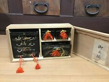 Y0747 HINA DOLL Chest of drawers Set Gold Lacquer box Japanese antique