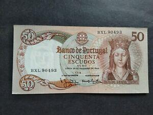 PORTUGAL 50 ESCUDOS 1964 BXL BANKNOTE