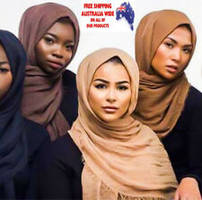 Women Hijab Muslim Plain Bubble Cotton Fringes Soft Crinkle Scarf