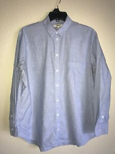 Madewell Oversized Blue Cotton Long Sleeve Oxford Popover Blouse Sz S (L1)