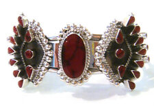 TAXCO .925 Sterling Silver Unique Cuff Bracelet w/Coral Inlays Adjustable