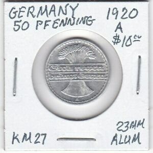 Coin - Germany - 50 Pfennig - 1920 A - KM-27 - 23 MM Aluminum