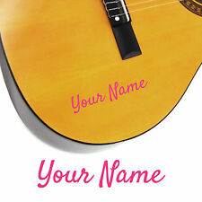 2 x Guitar Name Stickers - Personalised Acoustic Electric - Cool Script Style