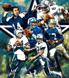 "NFL Dallas Cowboys Quarterback Legends signed Lithograph Large Reprint 11""x14"""