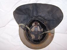 Dutch black leather havelock for doughboy helmet, 1950's. C.D. & Firemen.