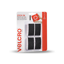 VELCRO® Brand 25 x 50mm Black Stick On Hook Loop Set Tape 6 Pack Walls Surfaces