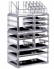 Clear Acrylic Makeup Organizer 10 Drawers Cosmetic Storage Case Holder box