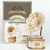 Robotime Grammophon 3D Holzpuzzle Modellbau Geschenk Spielzeug für Kinder Jungen