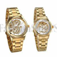 Men Women Silver Tone Luminous Hands Stereo Dragon Stainless Steel Wrist Watch
