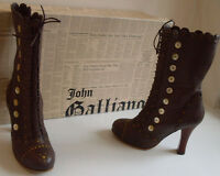 JOHN GALLIANO Designer Brown Leather Victorian Ankle Boots Size EU 38 UK 5 US 7
