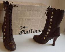 John Galliano Homme en Cuir Marron Style Victorien Bottes Taille UK 5 EU 38 US 7
