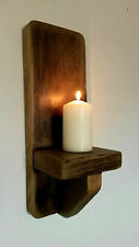 Rustic Reclaimed Solid Chunky Wooden Candle Holder Sconce
