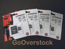 NEW Authentic Kingston Technology MicroSDHC Memory Card + SD Adapter 16, 32, 64