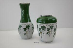 2 Vasen Set Spechtsbrunnen Weinrebe grün weiß Porzellan vintage Deko DDR #214939