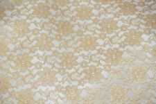 SHEER RACHELLE LACE FLOWER MESH POLYESTER HOME DECOR- CHAMPAGNE BY THE YARD