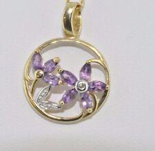 9ct yellow gold open-work floral amethyst & diamond pendant NEW