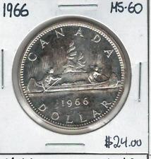 Canada 1966 Silver Dollar $1 MS60 Lot#2