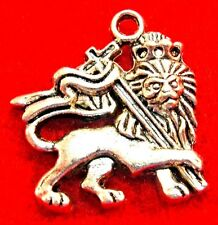 10Pcs. Tibetan Silver Large LION Charms Pendants Drops Jewelry Findings AN089