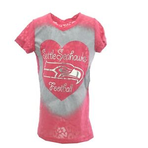 Seattle Seahawks Official NFL Kids Youth Size Girls Pink Sheer Shirt New Tags