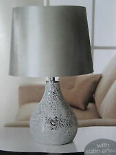 CRACKLE SILVER MOSAIC LARGE TABLE LAMP WITH SILVER SHADE NEXT DAY POST AVAILABLE