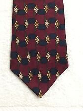 "NAUTICA MENS TIE MAROON WITH GOLD AND BLACK DIAMONS THROUGHOUT 58""x3.75"