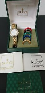 Gucci 11/12.2 G/Plated Ladies Watch with Six Interchangeable Bezels in Gucci Box