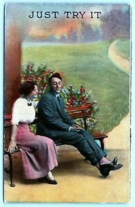 Postcard~ Romantic~ Bashful Lovers~ Just Try It~ c999