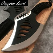 Hunting Knife Tactical Fixed Blad Cord Wrapped Handle Serrated Edge Forged Steel
