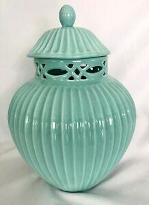 "Large Robin's Egg Blue Ceramic Jar with Lid 12"" Tall Glazed Beautiful"