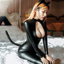 Sexy Women Zipper PVC Leather Catsuit Bodysuit Jumpsuit Costume CAT Cosplay Club