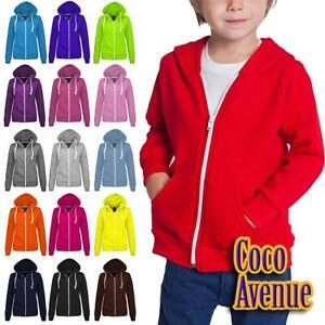 New Girls Kids Boys Plain Fleece Zip Up Hoodie Jacket Hoody Sweatshirt Coat Top