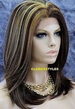 Straight Layered Brown Blonde Auburn Mix Full Lace Front Wig Heat Ok Hair Piece
