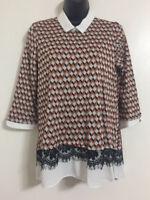 Ex NEW LOOK: Size 12-20 Orange Diamond Peter Pan Collar Shirt Jumper 2 in 1 Top