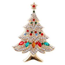 Vintage Multi-Colored Christmas Tree Rhinestone Brooch Pin Party Wedding Jewelry