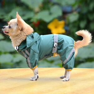 Waterproof Pet Dog Rainwear Jacket Pets Mesh Hooded Puppy Leg Rain Coat Clothes