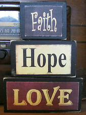 Faith Hope Love Primitive Rustic Handmade Stacking Blocks Wooden Sign Set