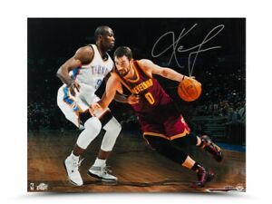 """Kevin Love Signed Autographed 16X20 Photo """"Match-up vs. Ibaka"""" Cavaliers UDA"""