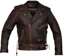 Mens brown distressed leather Marlon Brando biker motorcycle jacket