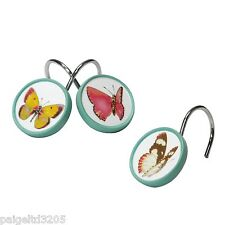 Essential Home Tahka Butterfly Shower Curtain  Hooks Set of 12