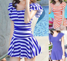 Boyshorts Striped V Neck Swimwear for Women