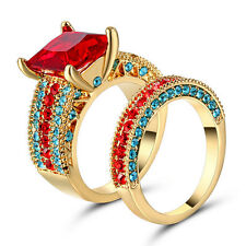 Valueable Princess Cut Ruby Cz 10KT Yellow Gold Filled Wedding Ring Set Size 7