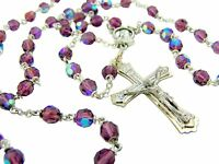 Amethyst Aurora Borealis Crystal 6MM Bead Rosary with Blessed Mary Centerpiece