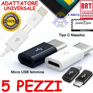 STOCK di 5 Adattatori da MICRO USB Femmina a Maschio TIPO C Universale TELEFONO