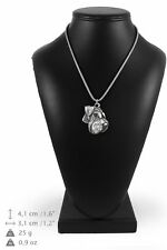 Schnauzer - silver plated necklace with silver cord, high quality, Art Dog