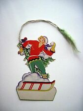 Vintage Christmas Bridge Tally w/ Woman Throwing Snowball & Cute Bird (B) *