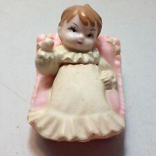 Vintage Wilton Chicago Cake Topper Decoration Little Baby Girl Child Pink Bed