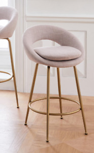 John Lewis & Partners Orb Counter Stool - Linen Weave Blush - RRP: £299