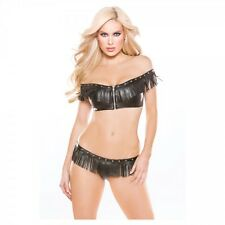 Naughty by Allure Faux Leather Off-Shoulder Top & G-String Set Black