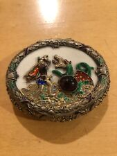 Austrian Antique Silver Enamel Snuff Box Oval Shape